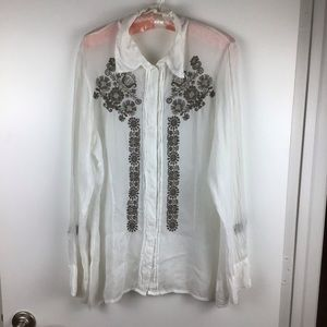Johnny Was | White Sheer Floral Embroidered Blouse